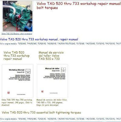 Volvo TAD520 thru 733 workshop repair manual, bolt torques, specs